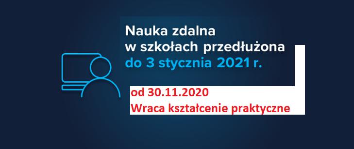 Nauka zdalna w ZSBiKZ przedłużona do 3 stycznia 2021 r.