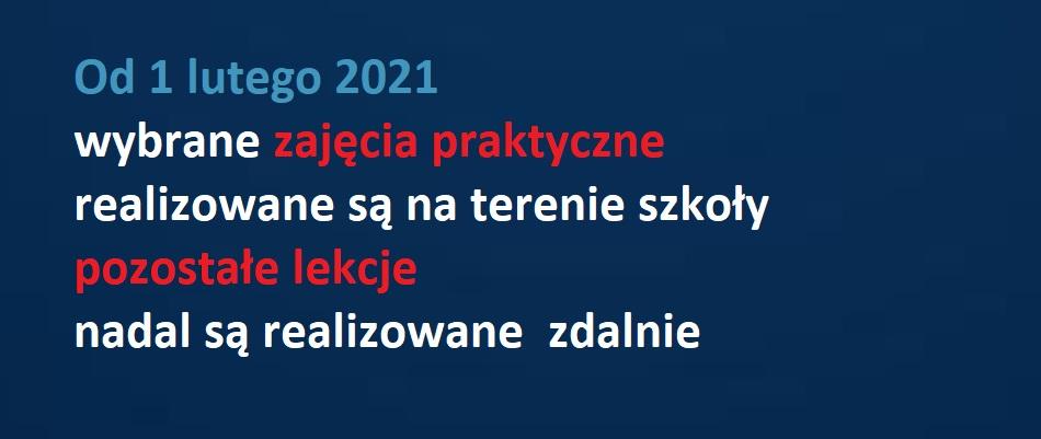Od 01 lutego zmiana organizacji wybranych zajęć w ZSBiKZ