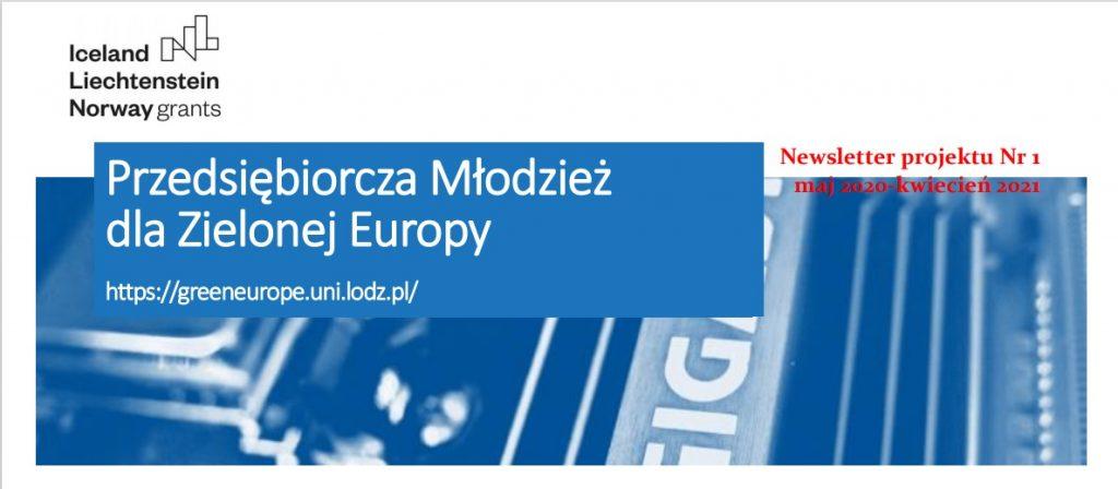 """Newsletter projektu """"Przedsiębiorcza Młodzież dla Zielonej Europy"""""""
